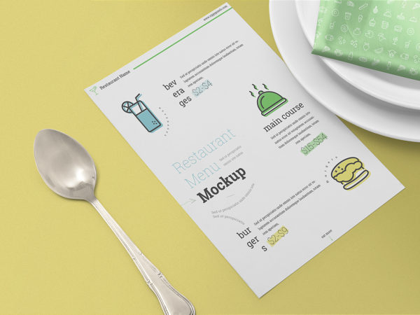 Restaurant Menu Card Free Mockup