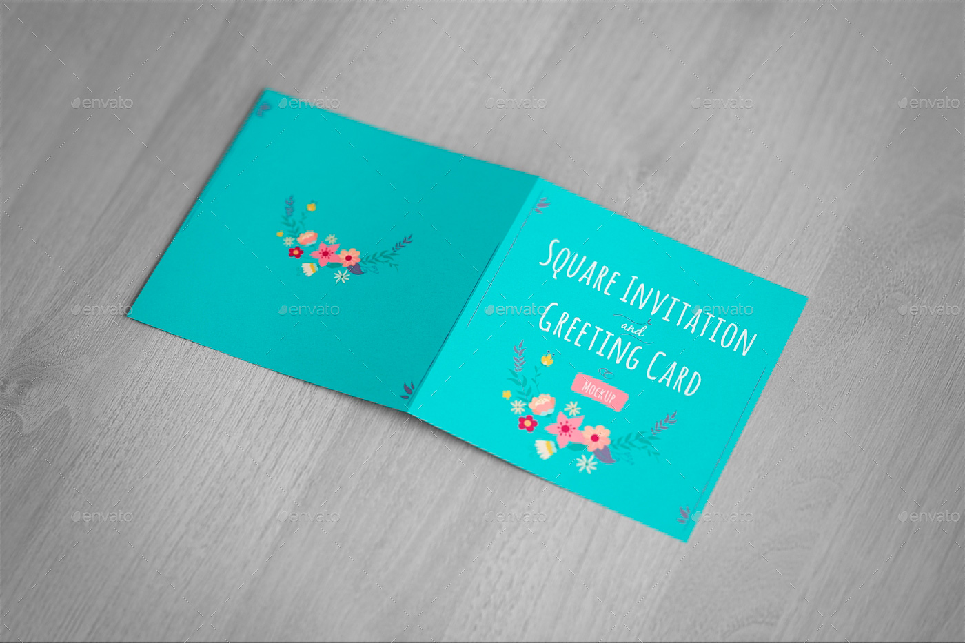Square Invitation And Greeting Card Mockup Free Version