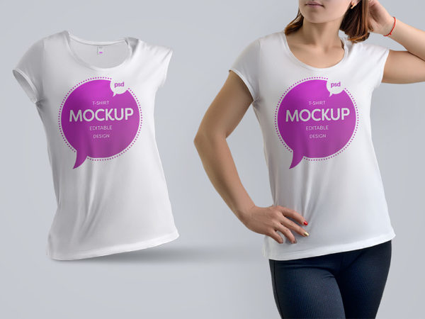 T-Shirt Mockup Woman Free PSD