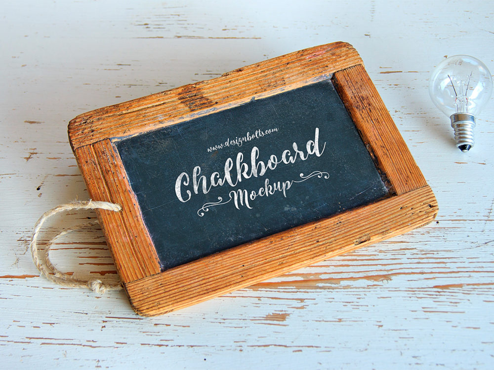 Wooden Frame Chalkboard Mockup PSD for Lettering and Typography