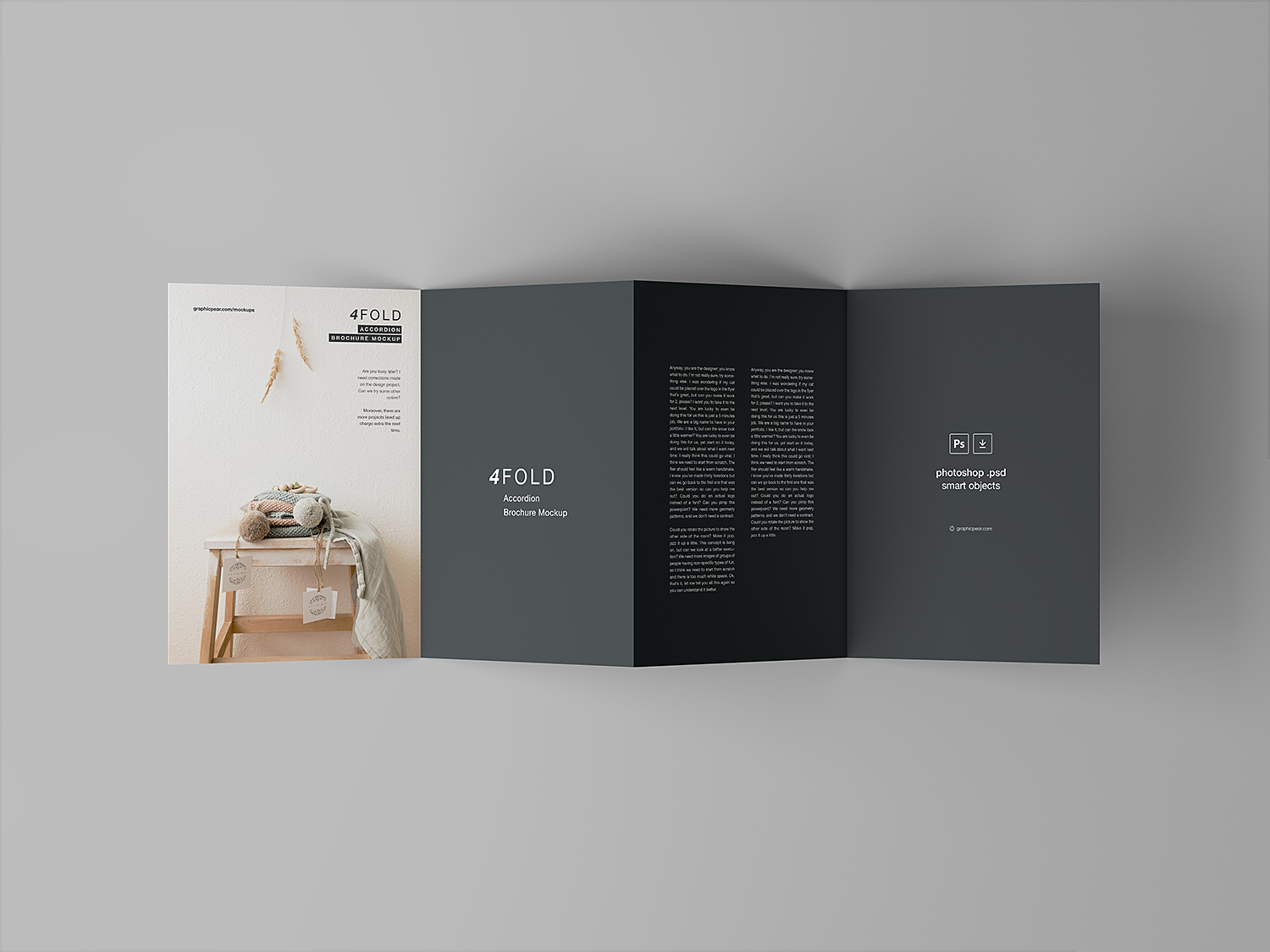 4 fold accordion brochure mockup