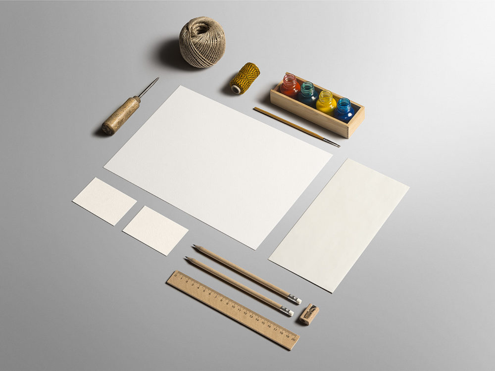 Art craft stationery branding mockup