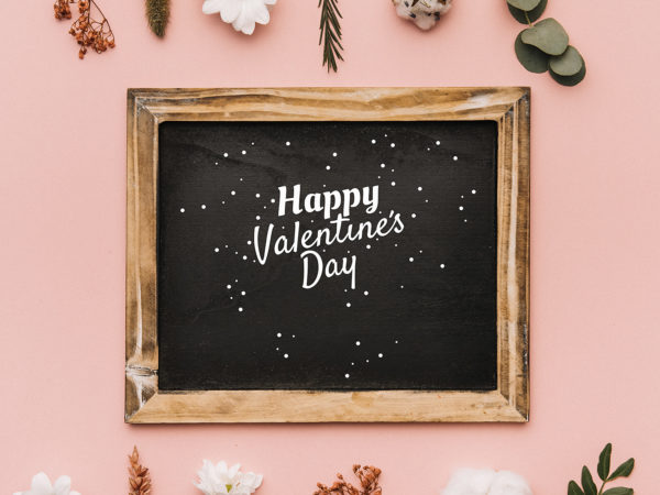 Valentine Chalkboard in Wood Frame Mockup