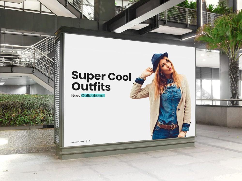 Free Mall Indoor Billboard Mockup