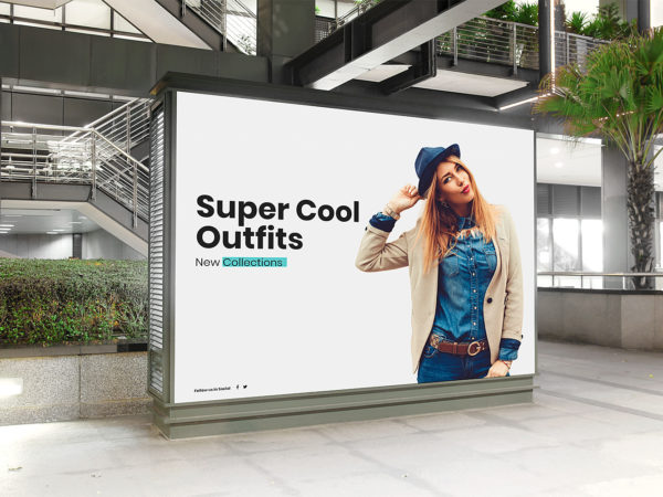 Free Mall Indoor Billboard Mockup
