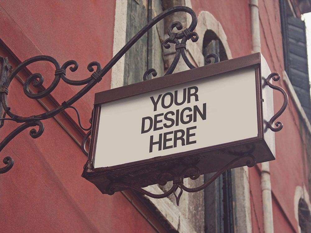 Free Signboard Venecia Mockup