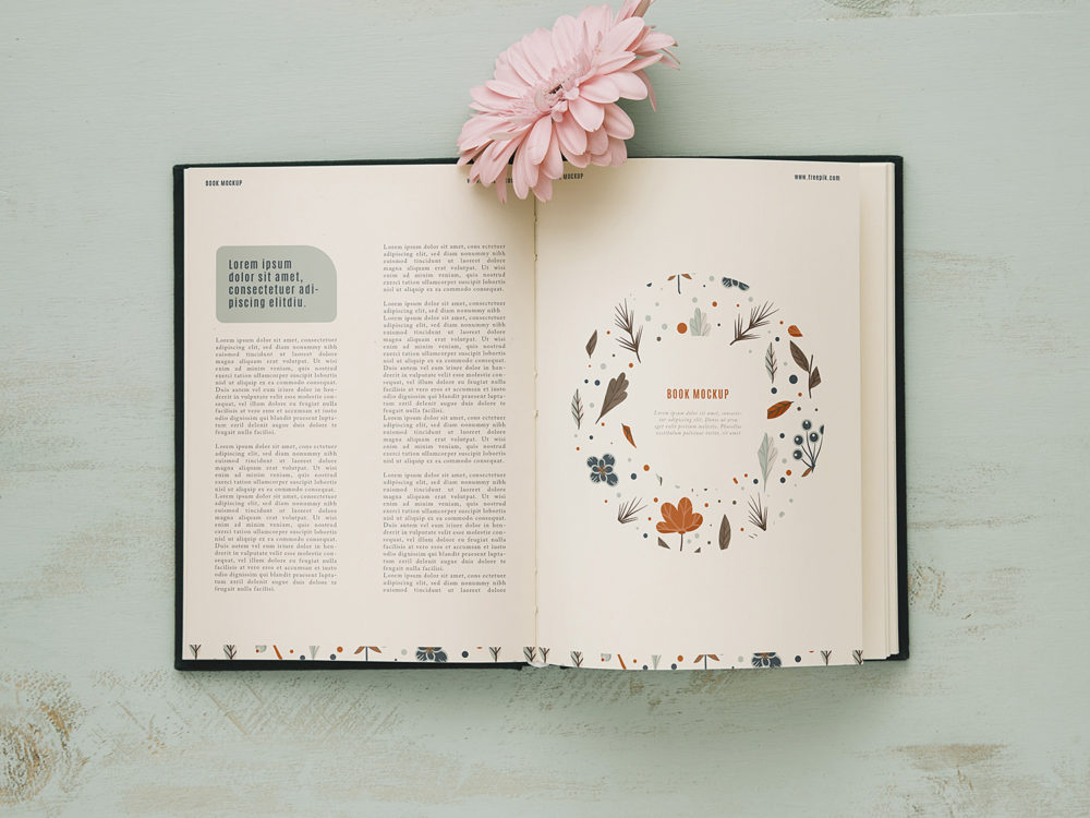 Open Book Mockup with Pink Flower