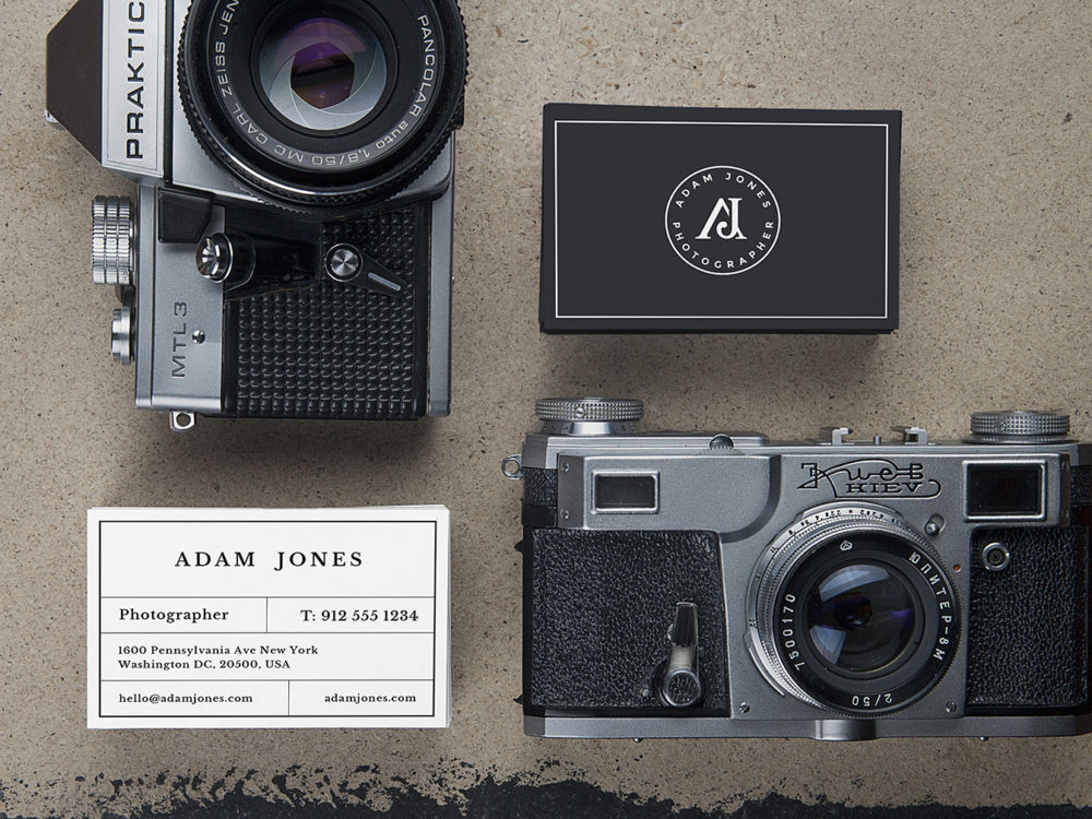 Photographer's Business Card Mockup Free