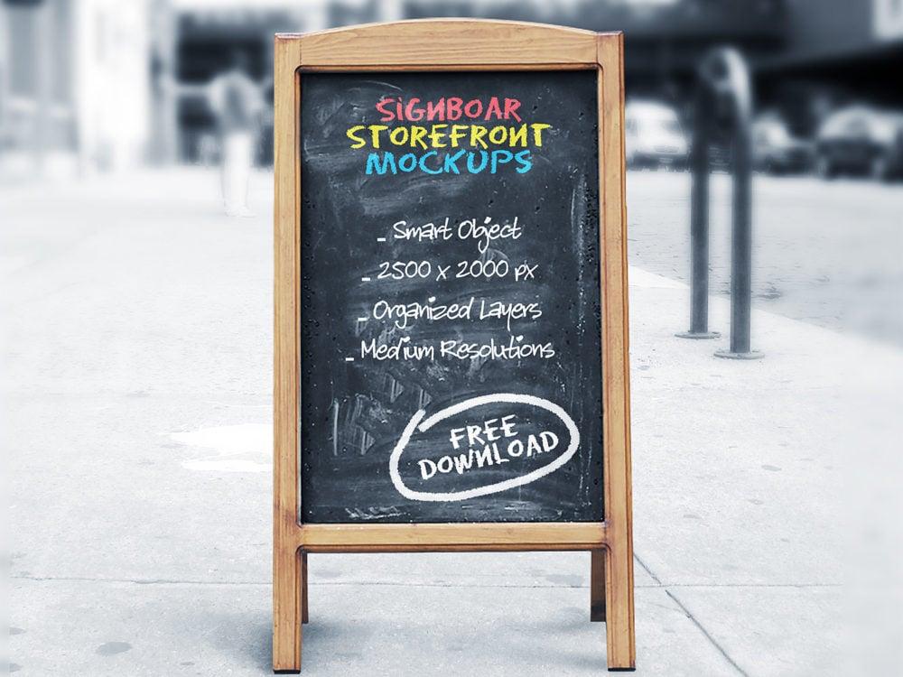 Signboard Chalkboard Mockups