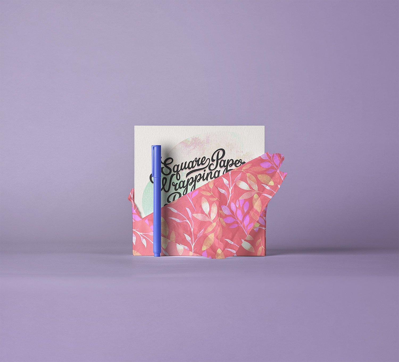 square invitation card paper wrap mockup