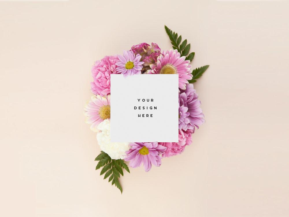 Thank You Card Mockup Floral Set