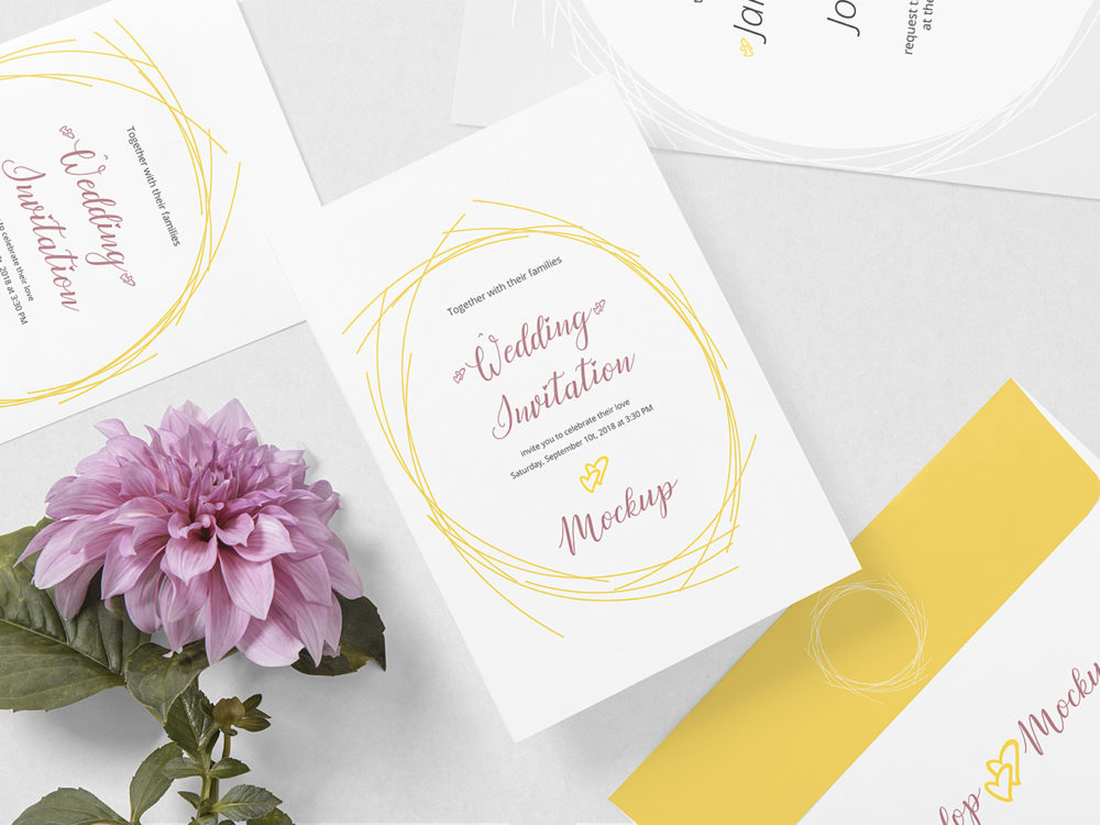 Wedding Card Mockup Free