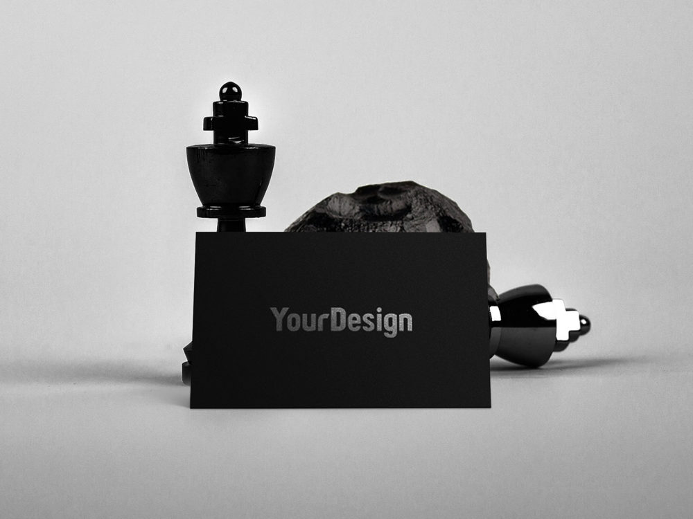 Black One Side Business Card Mock-up
