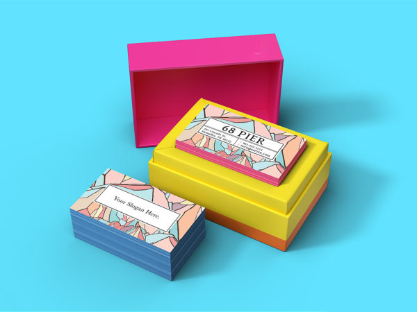 Business Card with Custom Packaging Mockup
