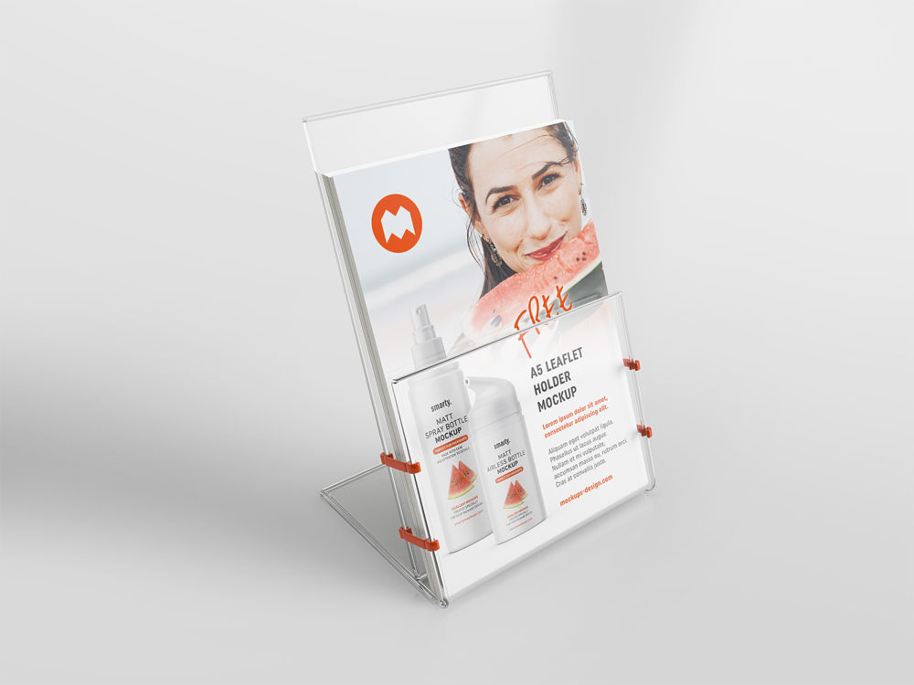 Free Transparent Leaflet Holder Mockup