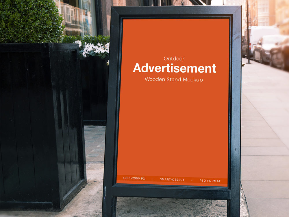Free outdoor advertisement banner stand mockup