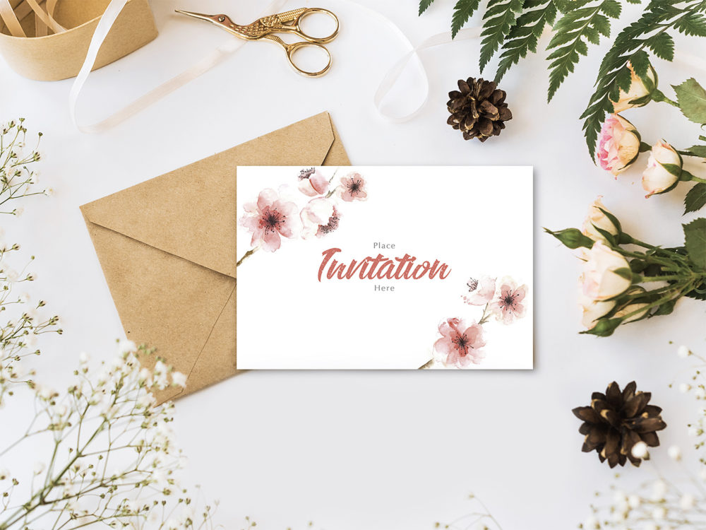 Invitation Card with Flowers Mockup