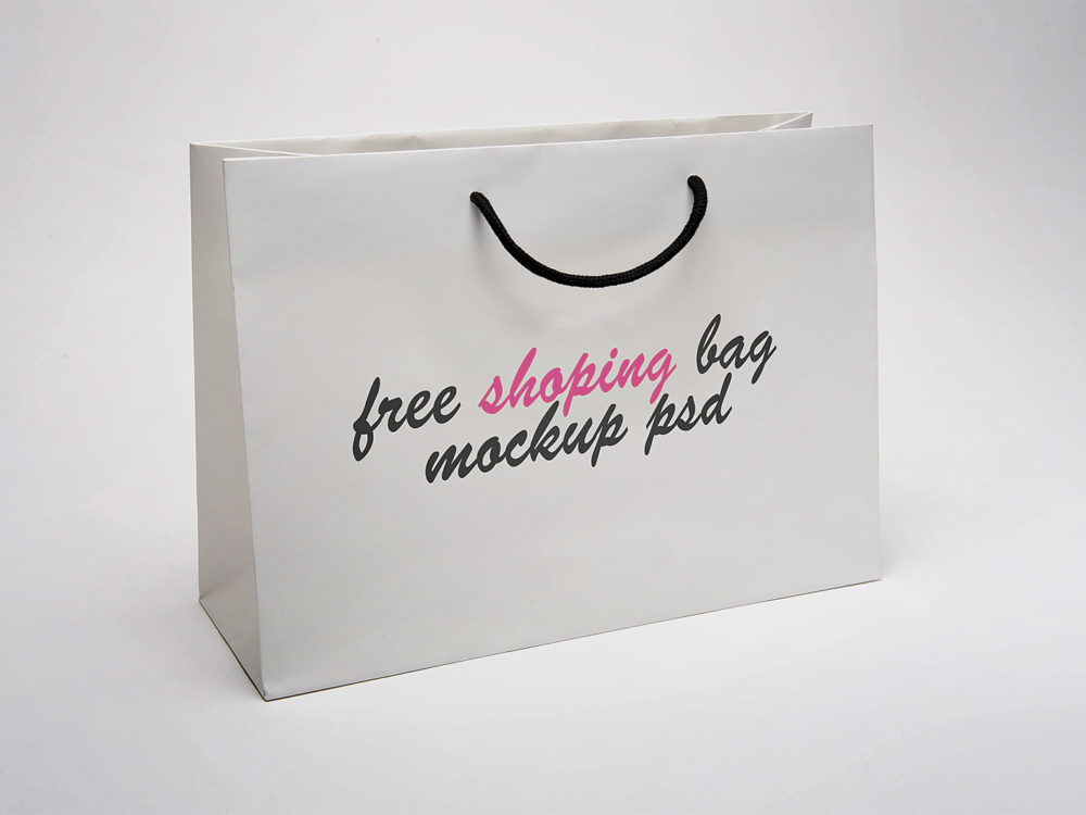 paper shopping bag mock up free mockup