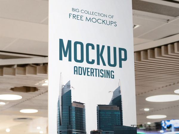 Vertical Advertising in Supermarket Mockup