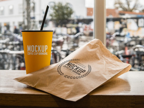 Coffee Cup and Paper Pouch Branding Mockup