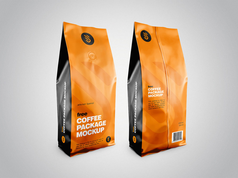 Free Coffee Pouch Package Mockup