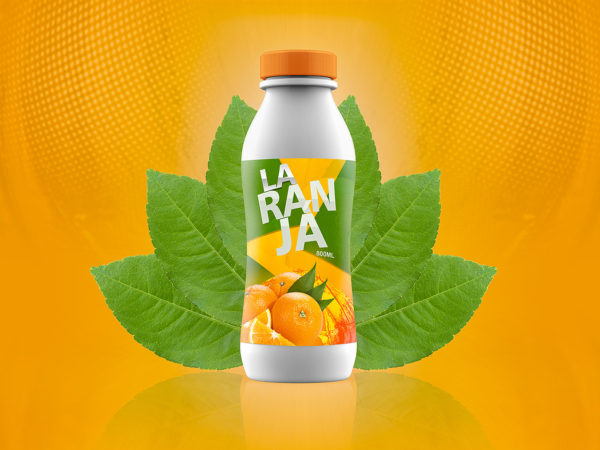 Juice or yogurt plastic bottle mockup