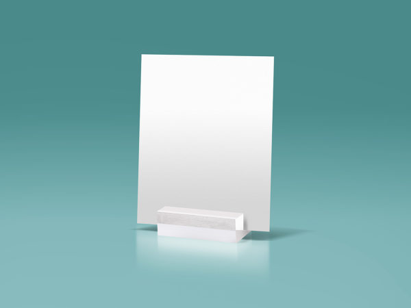 Glass Stand Display A5 Paper Free Mockup