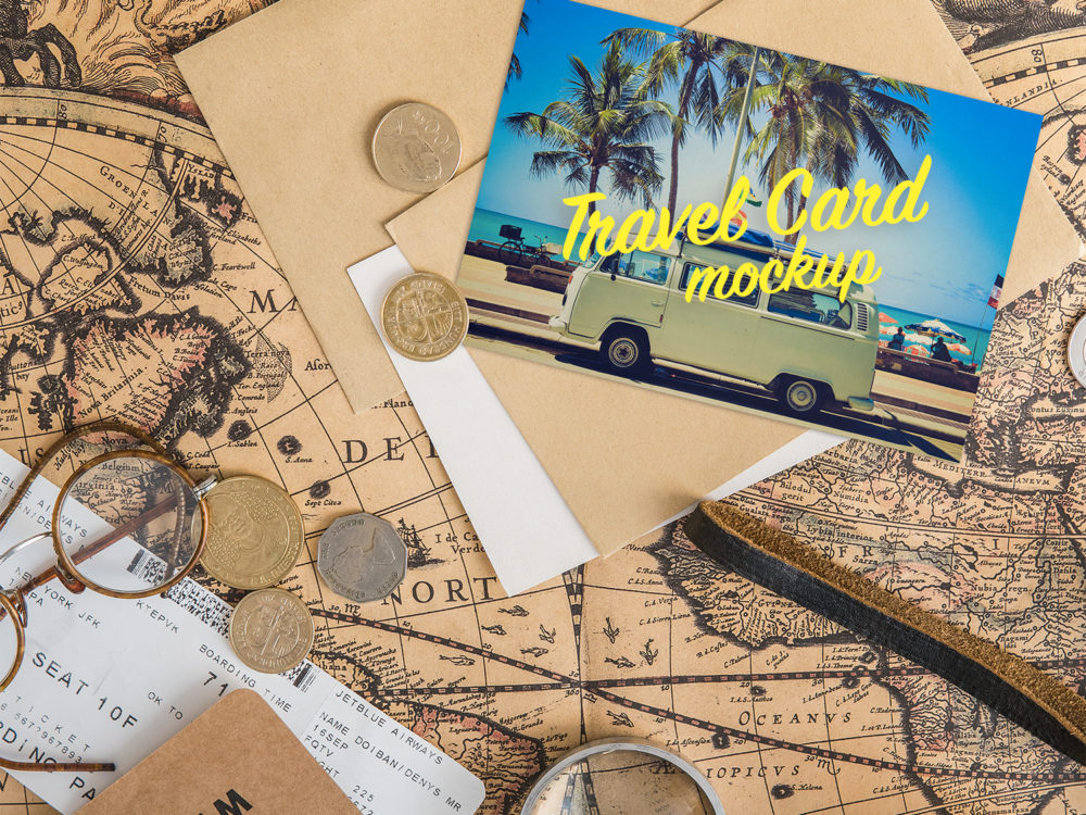 Travel Greeting Card Mockup