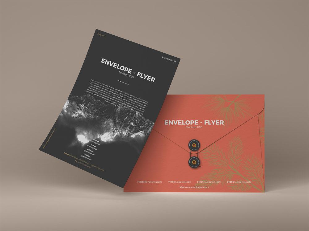 Envelope with Floating Greeting Card Letter Mockup