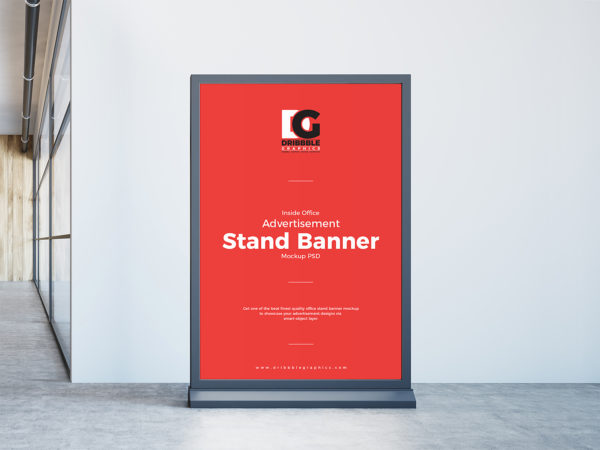 Inside Office Stand Banner Free Mockup