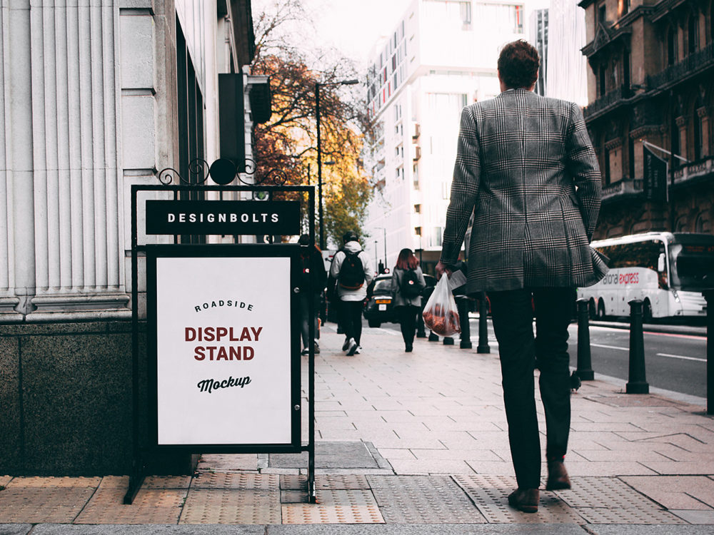 Outdoor Roadside Display Stand Free Mockup