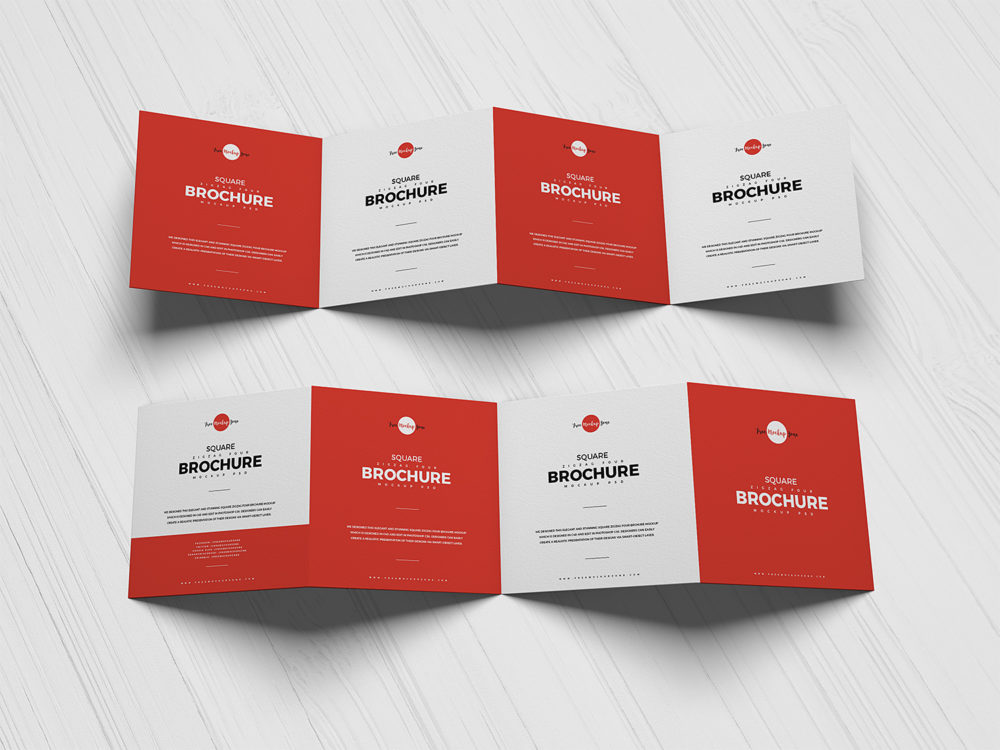 Square 4-Fold Brochure Free Mockup