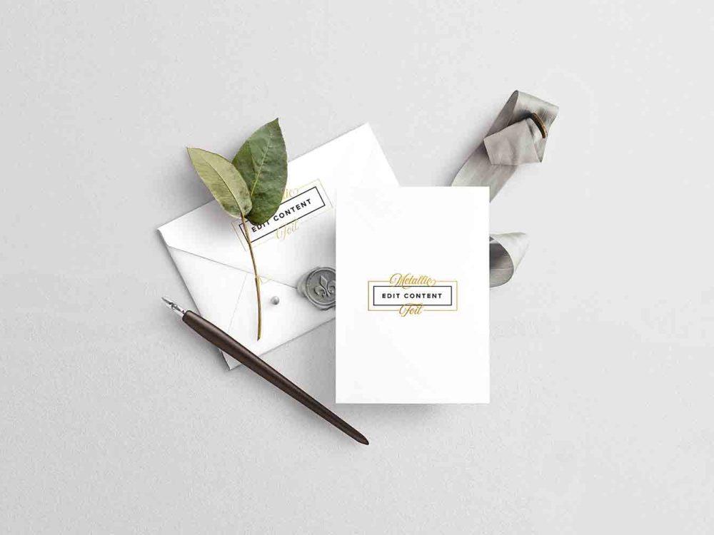Wedding Card with Envelope Mockup