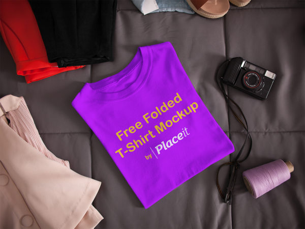 Free Folded T-Shirt Mockup by Placeit