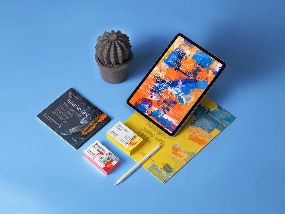 iPad Stationery Branding Free Mockup