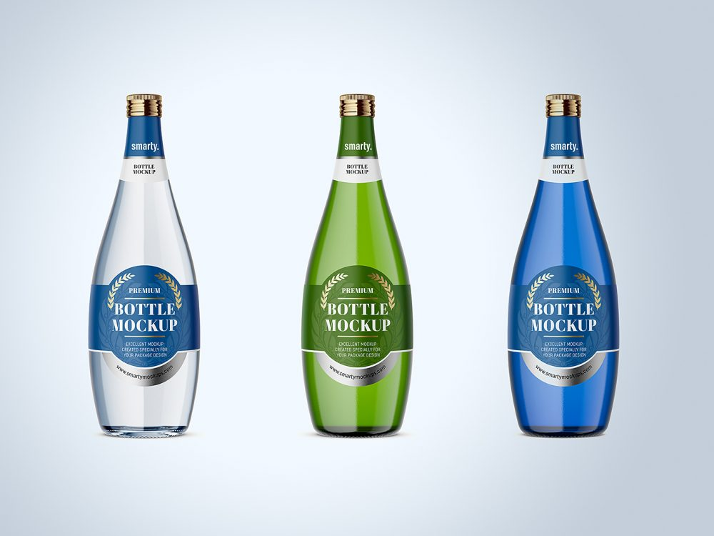 Free Glass Bottle Mockup