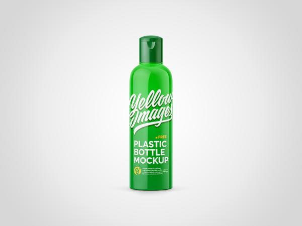 Glossy Plastic Bottle Free Mockup