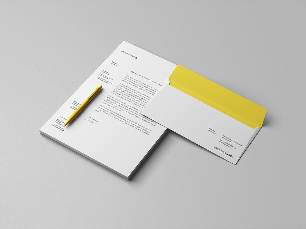 Letterhead and Envelope Branding Mockup