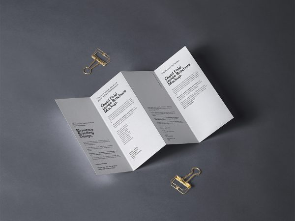 4-Fold Panel Brochure Free Mockup