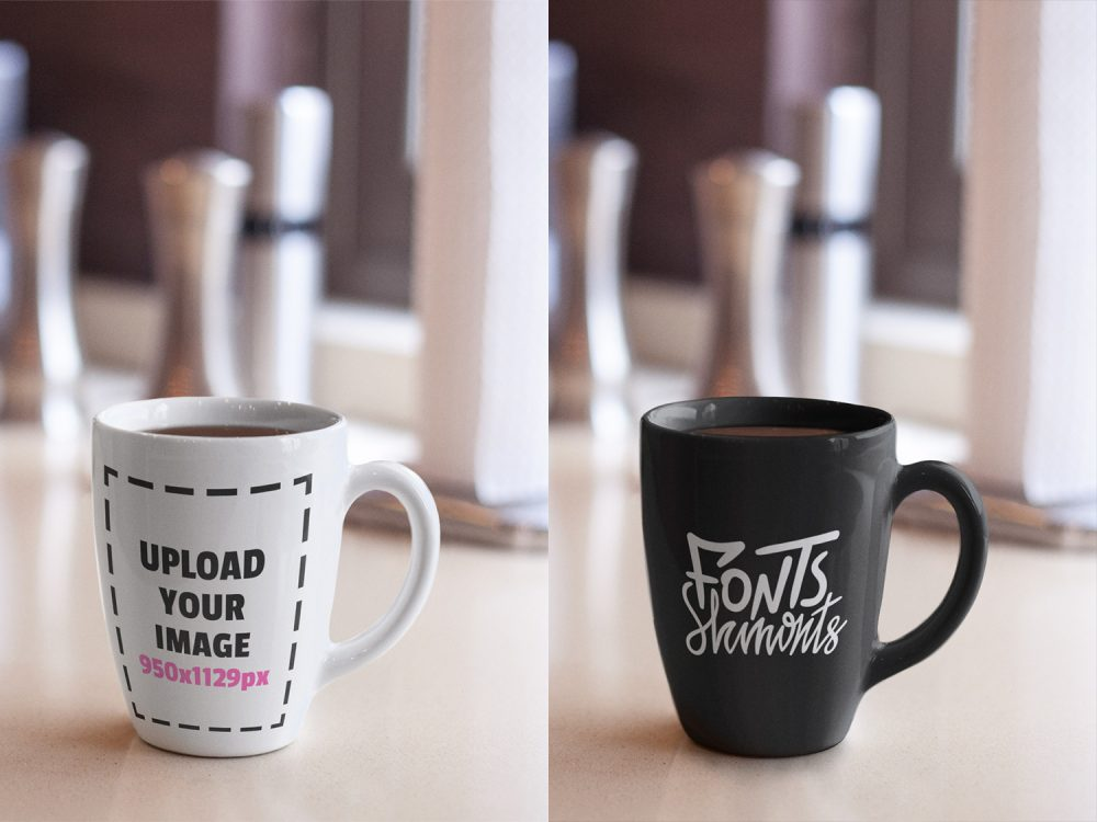 Coffee Cup on Top of a Kitchen Сounter Mockup