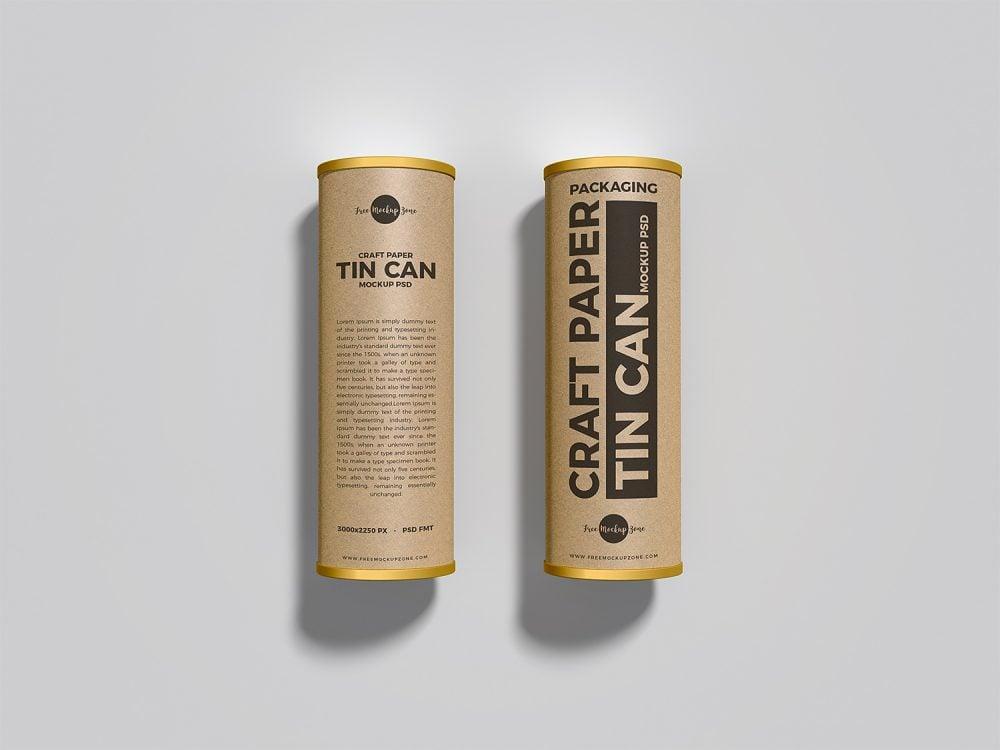 Craft Tin Cans Free Mockup