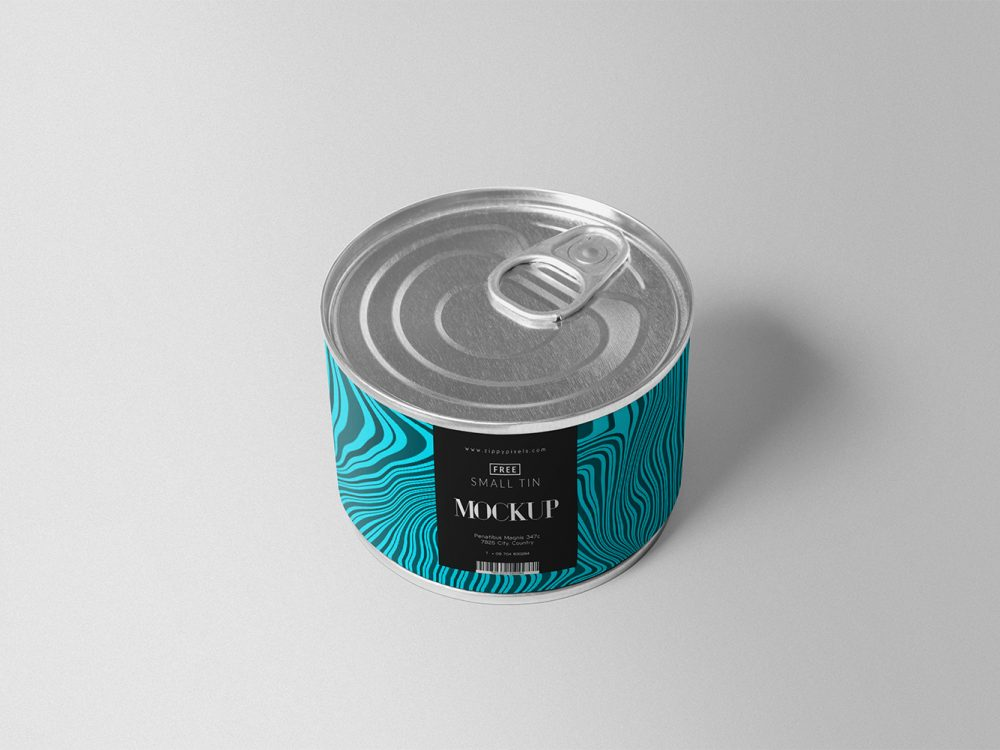 Free Food Tin Can Mock-Up