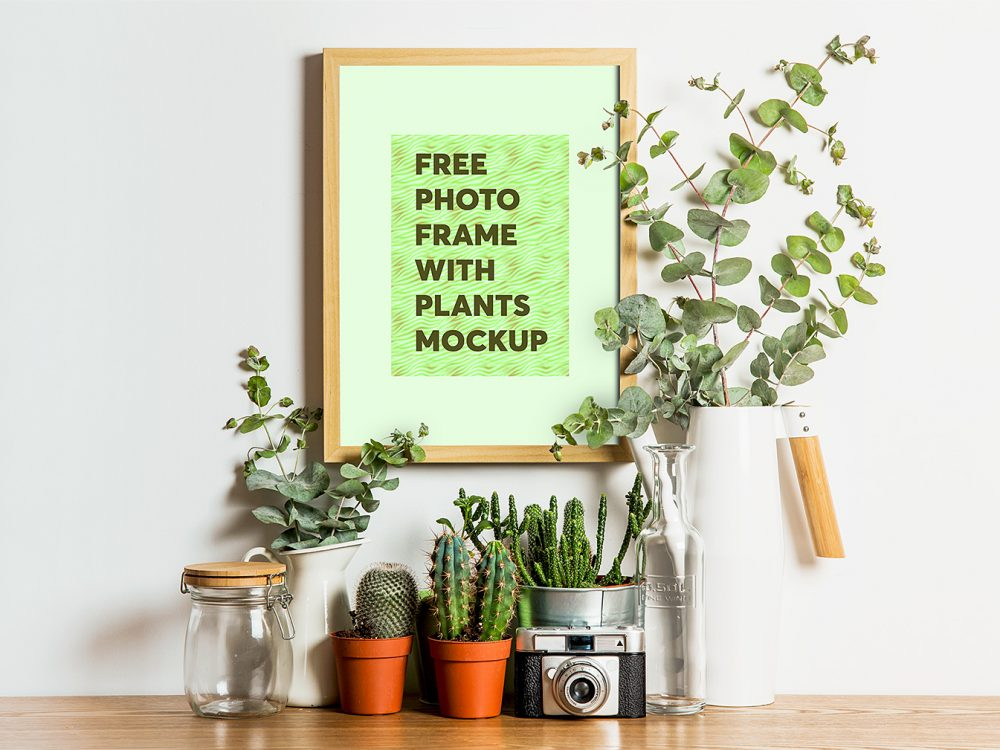 Photo Frame with Plants Mockup
