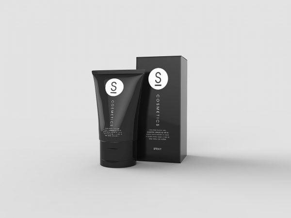 Realistic Cosmetic Tube and Box Free Mockup