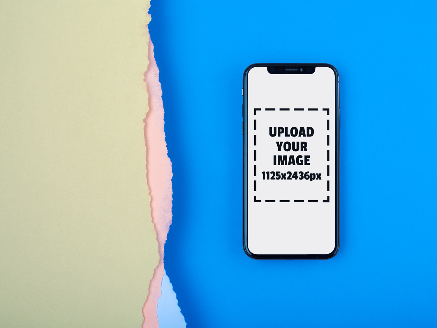 premium selection 70a97 1b490 iPhone X Mockup Lying on a Blue Surface Near Broken Paper | Free Mockup