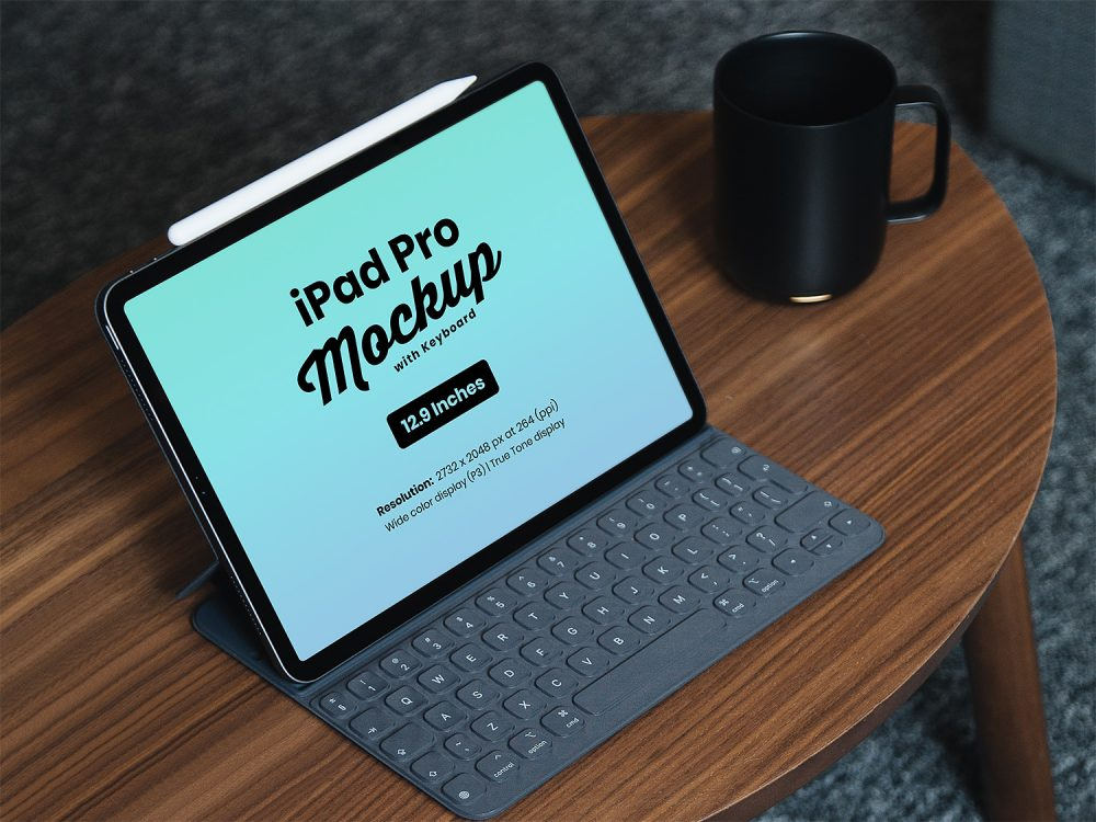 12.9 Inch iPad Pro Free Mockup with Keyboard