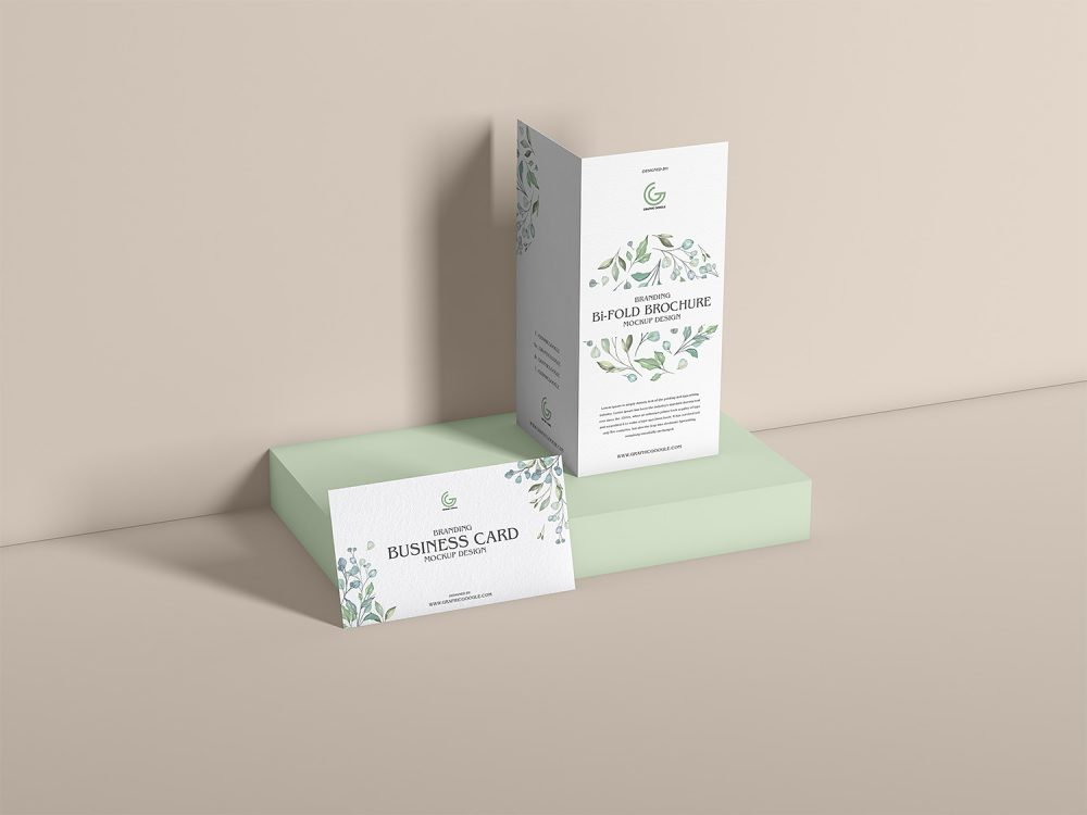 Bi-Fold Brochure with Business Card Mockup