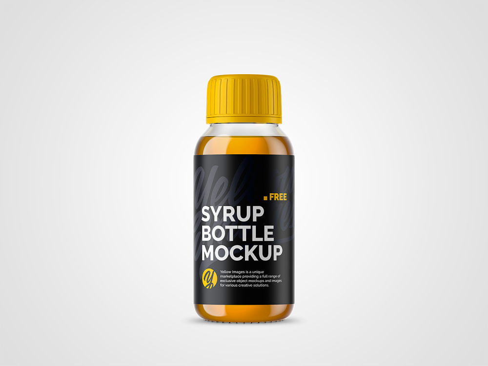 Clear Glass Bottle With Orange Syrup Mockup