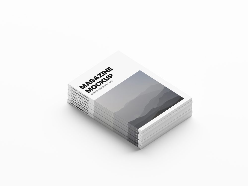 Free Stacked Magazines Mockup