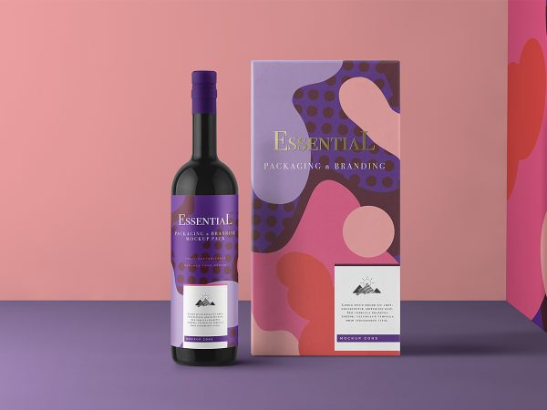 Free Wine Bottle and Wine Packaging Box Mockup